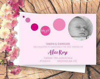 Personalised New Baby Announcement / Christening / Baptism Card with Photograph
