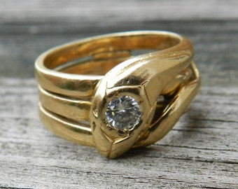 Snake Ring 1920s Serpent Diamond Ring Antique Diamond Ring 14K Gold Art Deco Snake Ring Unique Engagement Ring