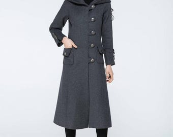 gray wool coat, long wool coat, warm coat, winter coat, hooded coat, dress coat, custom coat, womens coat, maxi coat, custom made   C1077