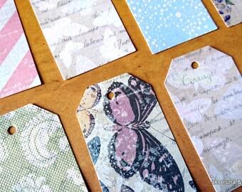 Handmade labels, set of 22 shabby,flowers , boho 3.2m x 5.5mm paper 200g / m2