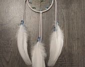 Dream Catcher White Deerskin with Rare White Holland Turkey Feathers