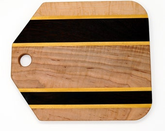 Small Curly Maple Cutting board, with Wenge and Yellow Heart