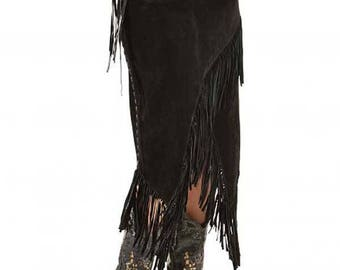 Scully Western Asymmetrical Fringe Suede Leather Skirt