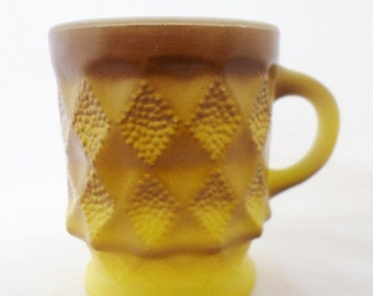 ON SALE Vintage,  Kimberly A H, Fire King, Mugs, Anchor Hocking, Yellow and Brown,  Milk Glass,  Coffee Cup,  Set of 4, Glassware