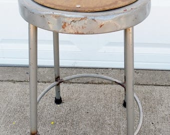 "ON SALE Vintage, Krueger, Metal Stool, Industrial, Shop Stool, Grey, Steel, Stool, Counter Height, 24"" High, Kitchen, Dining Room, Seating"
