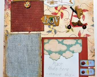 12 x 12 All Boy Premade Scrapbook Page With Journal Cards and Toys,  Old Fashioned Theme 2 Page Layout
