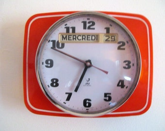 Orange JAZ French 1960s-70s Clock-Atomic Age Wall Clock- Vintage Wall Clock-Orange Clock-Flashy Pink Second Hand-Good Working Order