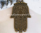 hand pendant connector bronze plated over brass antique gold tribal ethnic large  50mm  turkish jewelry supplies findings mdla055