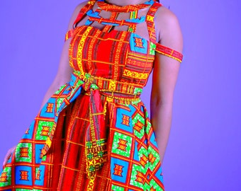 Nia - African Print Java Wax Print Dress