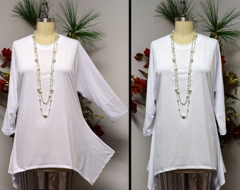 Dare2bstylish, White Tunic, Women Top, Plus size top, Lagenlook Tunic, Plus size Tunic. Top Seller. Free Shipping