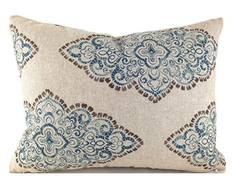Lumbar Pillow Cover ANY SIZE Decorative Pillows Blue Pillow Premier Prints Monroe Blend Cadet Oatmeal