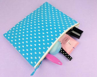 Small Cosmetic Case Heart Print Blue Travel Make Up Bag Zipper Pouch FINAL SALE
