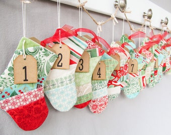 Quilted Christmas Stocking Advent Calendar - Christmas Stocking Pocket Advent Calendar - Christmas Stocking Calendar - Quilted Fabric Advent