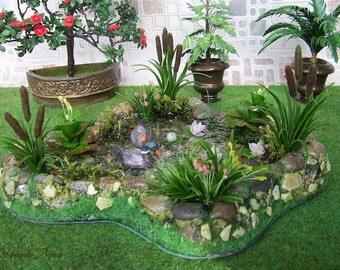 Pond for garden. Dollhouse Landscape. Miniature Dollhouse. 1:12 Scale