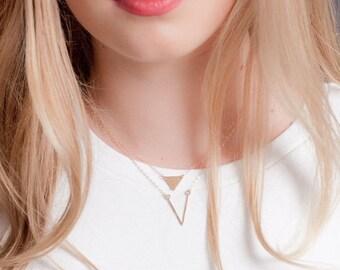 20% OFF SPRING SALE Ho'olana necklace - gold deep V necklace, gold chevron necklace, gold layering necklace, gold filled V necklace, strand