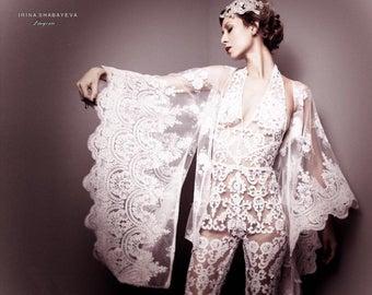 Irina Shabayeva white embroidered lace applique capri  jumpsuit. Comes in white, black , nude lace .