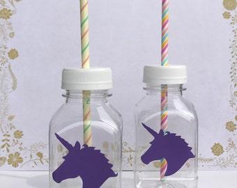 Unicorn 8 oz Vinyl Cup Plastic Milk Bottle with Lid