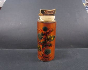 Sascha Brastoff  flowered enameled cigarette table butain gas lighter
