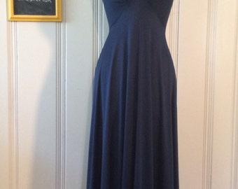 1970's Navy Blue Full Length Dress