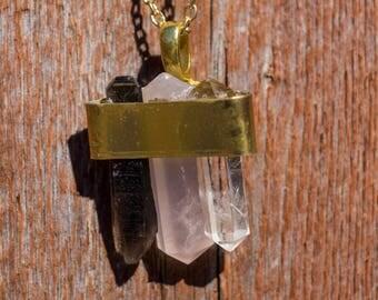 3 Quartz points necklace