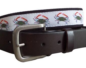 Blue Crab Leather Belt / Leather Belt / Nautical Belt / Preppy Webbing Belt Men, Women and Children/Blue Crab Ribbon and Black Webbing