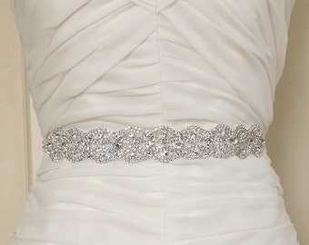 AMELIA - Bridal Gown Sash Belt, Crystal Sash, Wedding Dress Sash belt, Rhinestone Beaded Sash