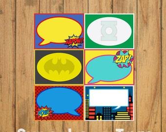DIY Superhero Tags/Food Labels