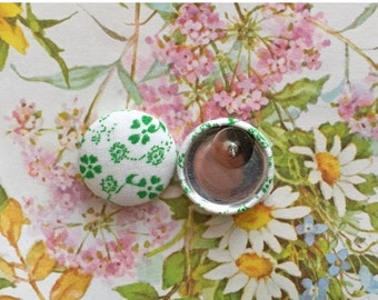 50% OFF SALE Button Earrings / Green and White / Fabric Covered / Wholesale Jewelry / Hypoallergenic Stud Earrings / Gifts for Her