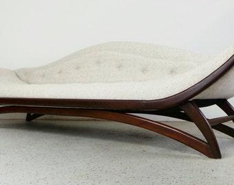 mid century modern restored Adrain Pearsall style Carson gondola sofa with walnut frame