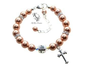 Baptism Bracelet Baby Bracelet Personalized Christening Bracelet Cross Charm Bracelet Baptism Gifts Baby Bracelets Christening Gifts