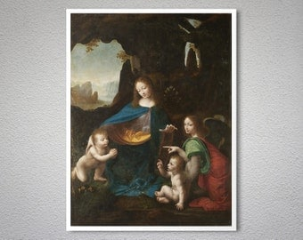 Madonna of the Rocks  by Leonardo Da Vinci  - Poster Paper, Sticker or Canvas Print