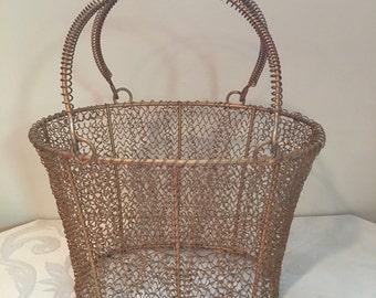 Vintage Gold Wire Basket, Double Handle, [J]