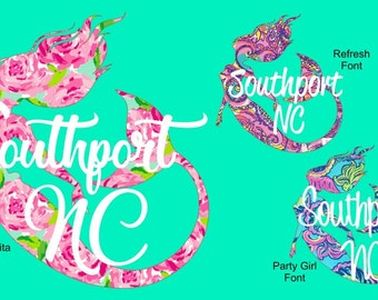 """4"""", 5"""", 6"""", 7"""", 8""""  Lilly Pulitzer inspired Mermaid Car decal sticker, Outdoor Vinyl with City and State.  Various sizes and patterns !"""