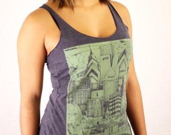 FREE SHIPPING -- WOMENS Philadelphia Sky Line Illustration -- Paul Carpenter Art -- Philly Shirt