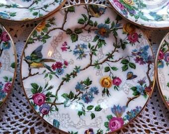 Arklow Pottery, Ireland, part tea set, vintage china, three cups, saucers, tea plates.