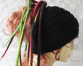 Express shipping BLACK Dreadlocks Mens headband, Dreadlock accessory,  headband hat, wide knitted hair wrap, black stripes.