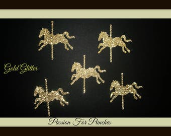 30 Gold Glitter Carousel Horse Horses Die Cuts Punches Confetti For Scrapbook Cards Party Confetti Crafts Embellishments Carousel Confetti