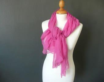 Pink chiffon scarf - chiffon silk scarf - pink chiffon silk wrap - vintage pink silk wrap - pink silk chiffon shawl