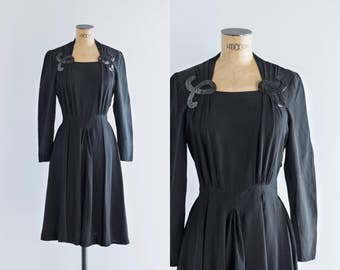Vintage 1940s Sequin Applique Black Dress - 40's Fashion - Black Star Dress