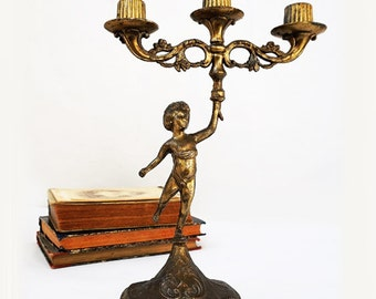 Antique Cherub Candlestick Holder, Victorian Brass Candle Holder ,French Boudoir Shabby Chic Decor
