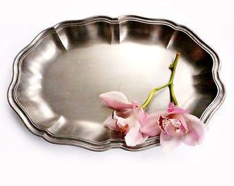 Vintage Italian Pewter Dish, Vintage Ornate Serving Tray, Pewter Serving Platter ,Italian Oval Pewter Dish