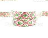 Closed Out Sale 40% OFF 5/8 PRINT Fold Over Elastic - Christmas Damask - Winter/Fall/Christmas - Xmas Elastic - DIY Hair Accessories Supplie