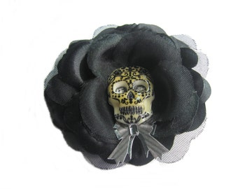 Day of the Dead, Skull Hair Accessory, Black Flower Hair Clip, Halloween Hair Clip, Skull Hair Clip
