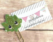 Green/Gold/Weed Leaf/Medical Marijuana/Sparkle Applique Paper Clip/Planner Clip/Bookmark/Journal Marker
