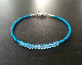 Blue Topaz Bracelet, Turquoise Bracelet, Skinny Bracelet, Dainty Stackable, Semi Precious, Gift for Her, December Birthstone  1226