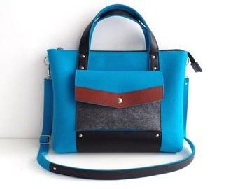 Blue Brown Black Wool Felt Genuine Leather Handbag