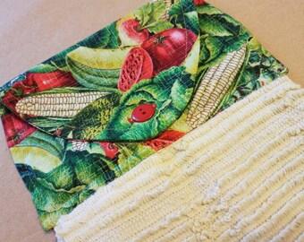 Hanging Vegetable Kitchen Towel, Dish Towel, Farmers Market, Summer Veggies, Fresh Fruit, Greens, Garden, Corn, Kitchen Linens, Home Decor
