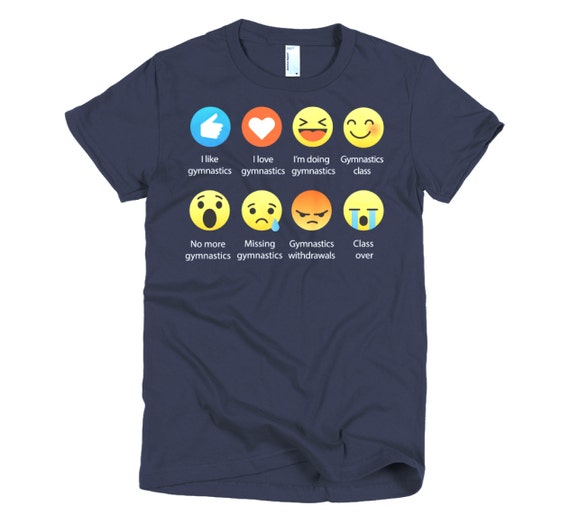Emoji (emoticon) I Love GYMNASTICS Sayings T-Shirt (RELAXED FIT)