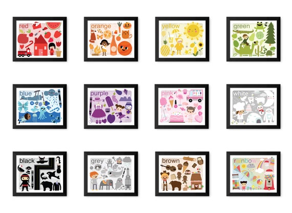 Vintage Illustrated Learn Your Colors - Digital Instant Download (for teachers, home school,  printable decor, for a frame, gift, for fun)