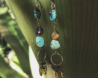 Turquoise earrings, boho jewelry, Mother's Day gift, unique earrings, rustic earrings, gift for her, beautiful jewelry
